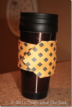 Coffee cup cozies--pretty sure I have enough old ties around for this.  Cute!