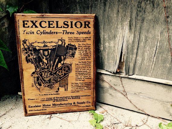 Vintage Excelsior Motorcycle Home Decor Wall Decor Motorcycle Art Garage Decor Classic Motorcycle Vintage Wooden Picture