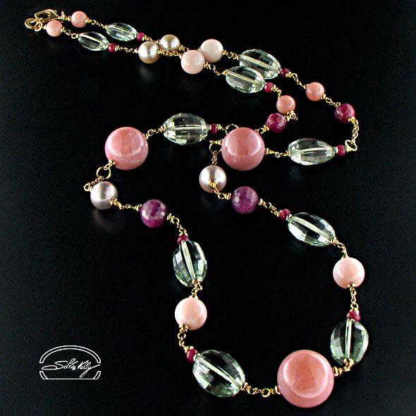 Collana quarzi e opale rosa in oro 18kt - Silvia kelly Gioielli - Italy