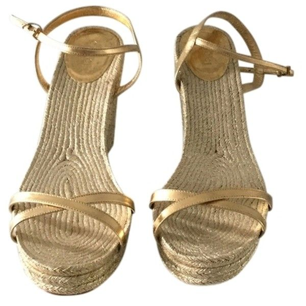 Pre owned Gucci Gold Lia Metallic Leather Espadrille Gold Espadrilles ($209