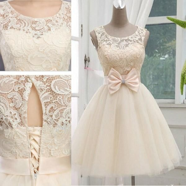 2015 Champagne New Arrival Short Wedding Dresses Jewel Sleeveless Knee Length Tulle Wedding Gown Lace-up With Bow, $81.05 | DHgate.com