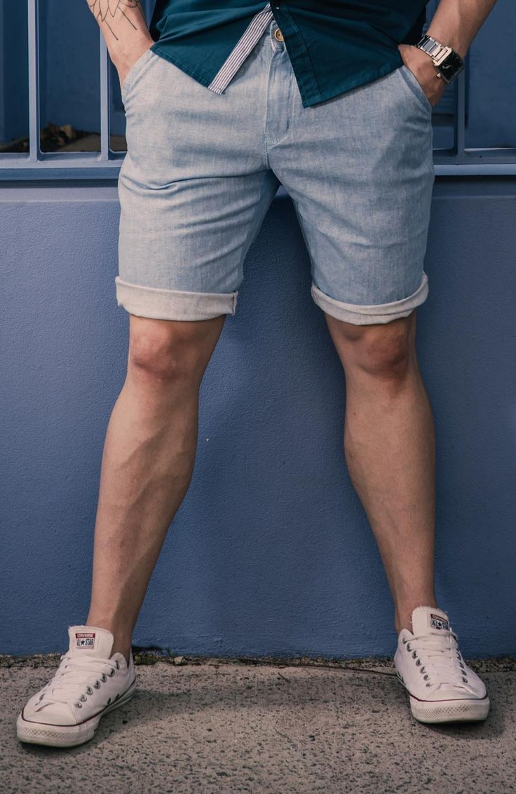 Men's Slim Fit Organic Twill Weave Chino Shorts – Light Blue. $49.95  http://sieteclothingco.com.au/shop/mens-shorts/