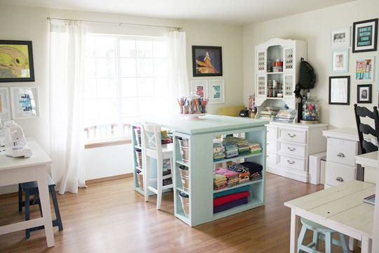 delightfully kid-friendly craft room: Dining Rooms, Crafts Rooms Design, Sewing Crafts, Rooms Tours, Crafts Spaces, Crafts Tables, Rooms Ideas, Sewing Rooms, The Crafts