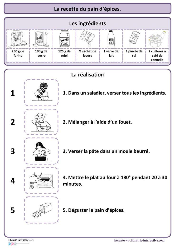Une recette simple du pain d'�pices, plusieurs affiches et des documents p�dagogiques pour l'exploiter en maternelle (PS MS et GS) et au cycle 2 (CP et CE1)