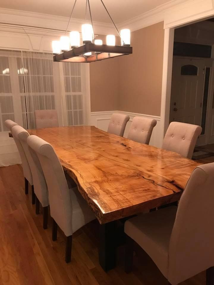 Large Live Edge Slab Table Wood Dining Room Table Live Edge