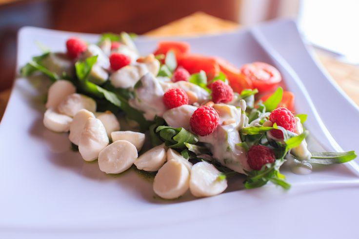 Salad with Berries, Mozzarella and Avocado marinated in Chili Coconut and Pesto Sauce