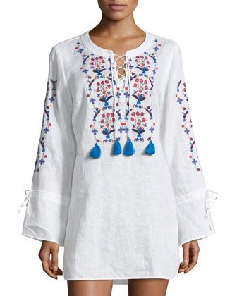 ee2280b00b Wildflower+Lace-Front+Embroidered+Beach+Tunic+by+Tory+Burch +at+Bergdorf+Goodman.