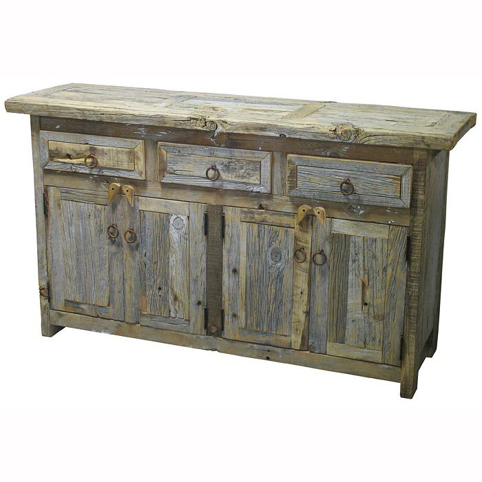 Reclaimed Barnwood Buffet makes a great rustic coffee bar!