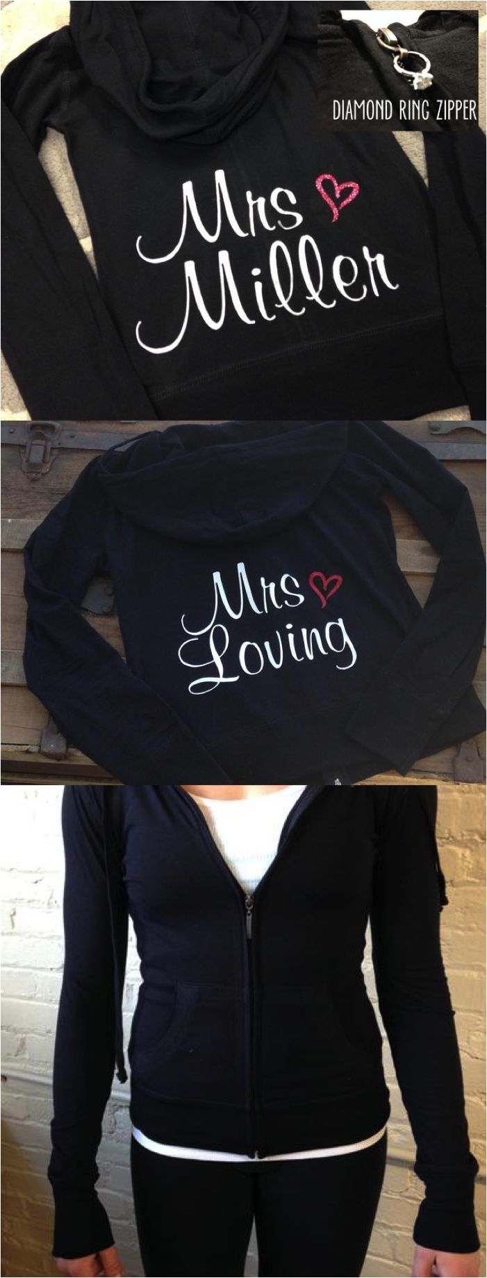 These personalized bride hoodies are adorable and super comfy! Soft, very stretchy, lightweight material makes for a perfect flattering fit. Great to wear while getting ready on the big day (zip up style so you don't mess up your hair!), travel in comfort and style on your honeymoon, or even wear for your bachelorette party! What a unique bridal shower or engagement gift! This is something the bride will keep and enjoy forever. Personalized this hoodie with the bride's new last name!