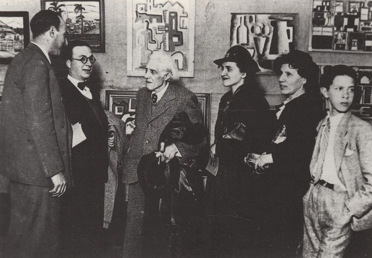 Héctor Ragni junto a un grupo de la AAC, 1938. De izquierda a derecha: Julián Álvarez Marques, H. Ragni, Joaquín Torres-García, Amalia Nieto, Manolita Piña de Torres-García y Horacio Torres.