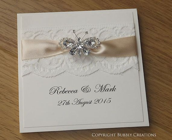 Butterfly Wedding Invitation With Lace. Luxury Wedding Invitation In Cream  By Bubbly Creations