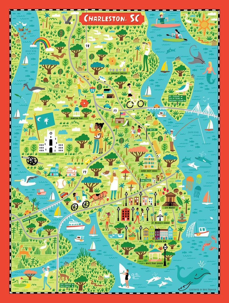 Illustrated map of Charleston, SC for True South Puzzle Co. by Nate Padavick (idrawmaps.com)
