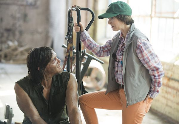 Gale Anne Hurd spends time on set with Norman Reedus...