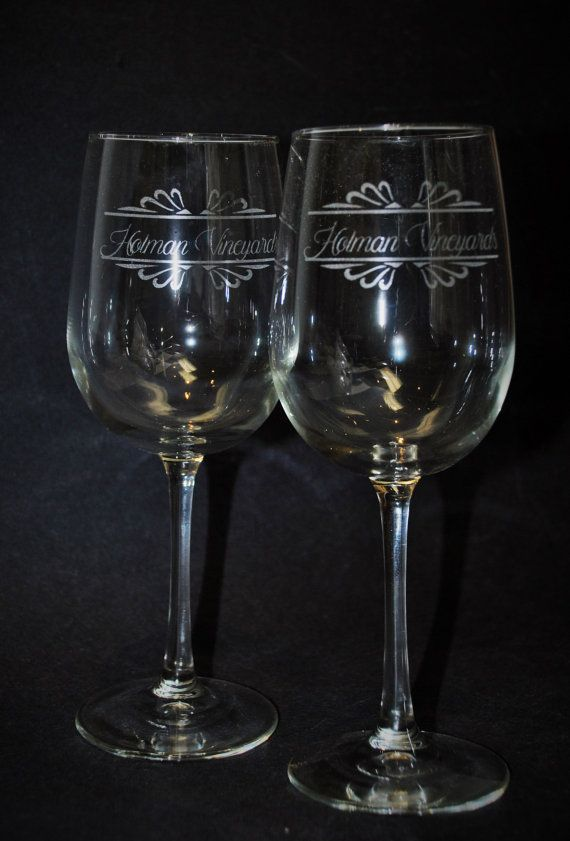 1 Etched Wine glasses 16 oz tall wine glass by MemoriesMadeToronto