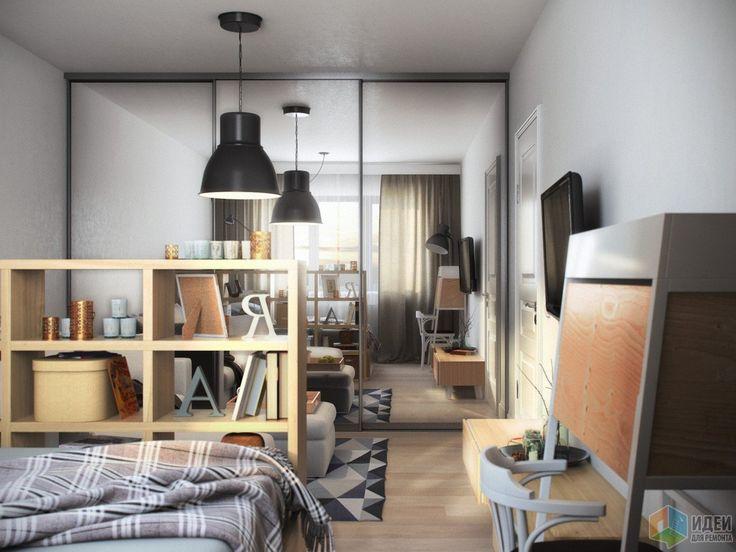 Зонирование гостиной, спальня и зона гостиной в однушке