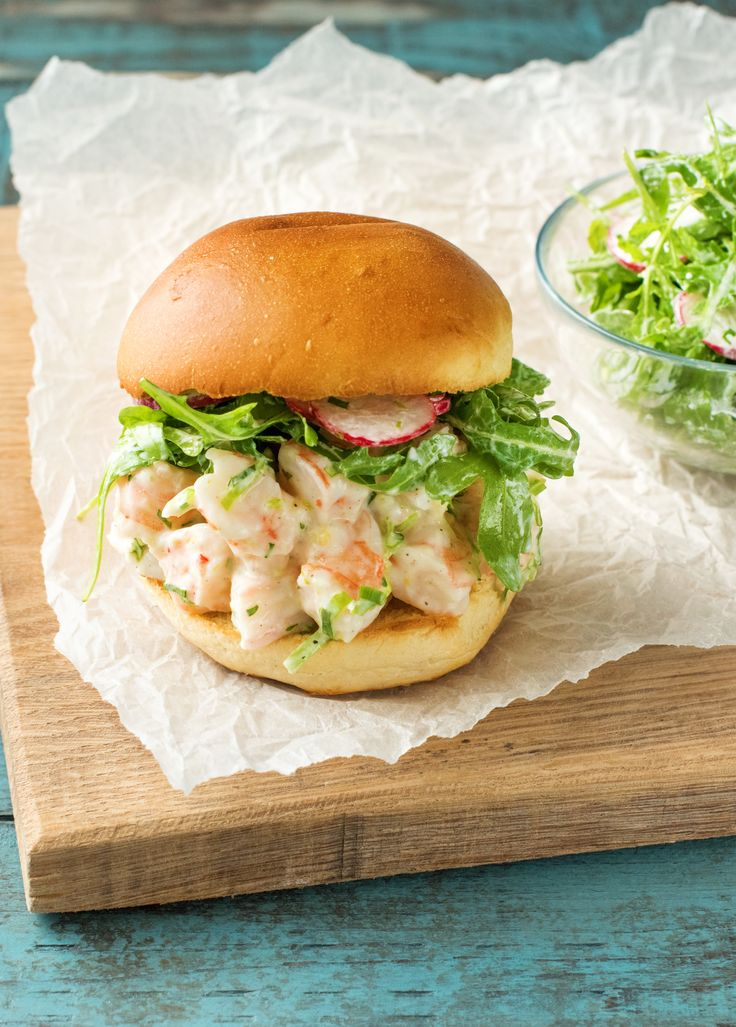 Brioche Shrimp Rolls with Arugula Radish Salad | HelloFresh Recipe | A great idea if you are looking for an original seafood burger recipe!