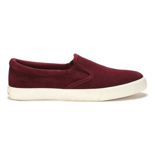 Lauren Ralph Lauren Women's Cedar Suede Slip On Trainers found on Polyvore featuring shoes, sneakers, burgundy, low top skate shoes, burgundy sneakers, lauren ralph lauren, lauren ralph lauren shoes and round toe sneakers