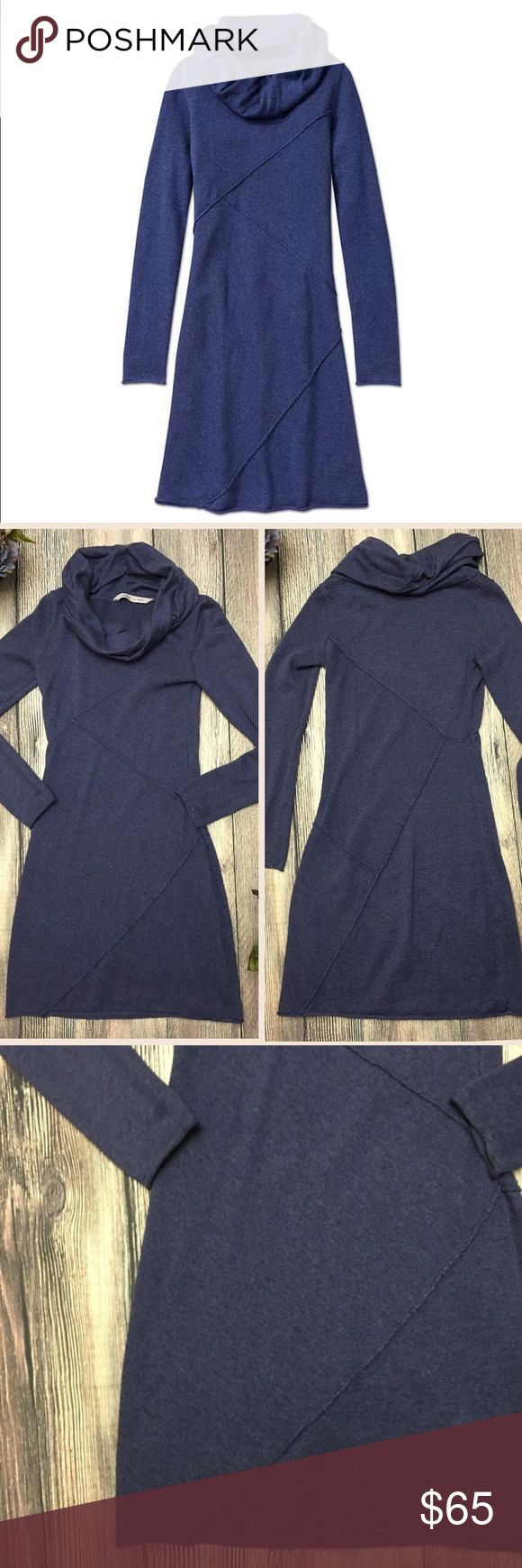 """Athleta Camber Sweater Dress Cowl size XS From Athleta, this Camber dress has a sweet cowl-neck with a twist. Breathable, soft cotton blend in a beautiful shade of deep blue, flattering asymmetrical seam lines hug curves in the right places, rolled raw-edge seams give her dimension and interest. Looks amazing with tall boots for a weekend date. Cotton/Poly blend. Approx 15 1/2"""" bust/pit to pit, 34"""" length shoulder to hem when laid flat. Size XS. (E1) offers warmly welcomed. Athleta Dresses"""