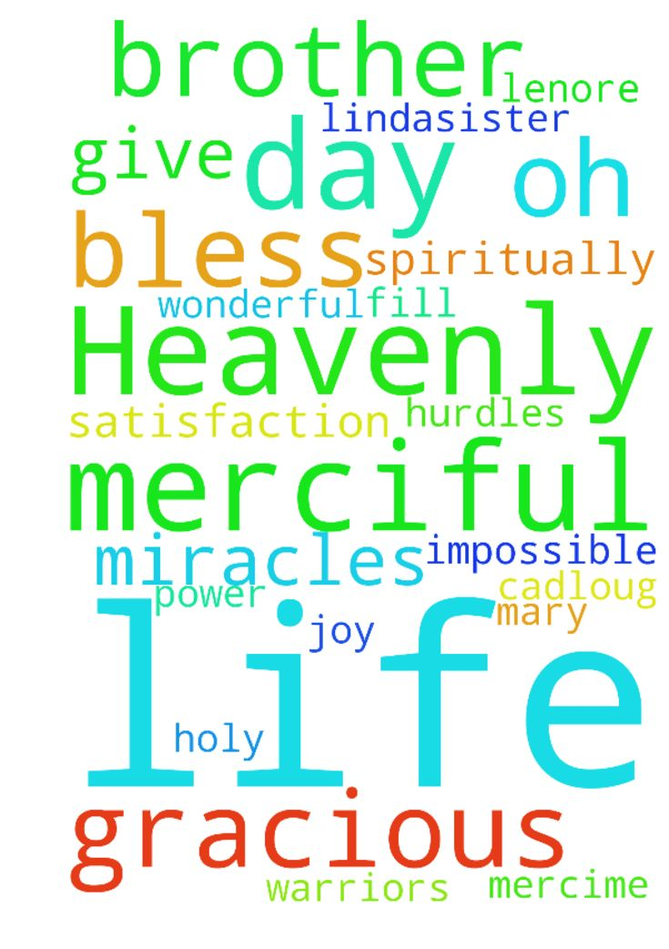 Oh Heavenly Lord, you are merciful and gracious And - Oh Heavenly Lord, you are merciful and gracious And nothing is impossible for you. In day to day life you are doing Wonderful miracles. Lord please bless Lindasister, Shermarie, Lenore Mercime Mary247 James brother Cadloug brother Madhu prayer boy and power. Fullfill all their dreams. Remove all the burden worries and hurdles of their life. Give them joy and satisfaction. Bless all prayer warriors spiritually and fill with Holy spirit. In…