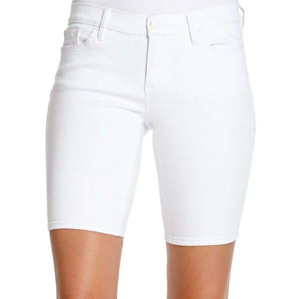 Jessica Simpson Maxwell Bermuda Shorts ($44) ❤ liked on Polyvore featuring shorts, plus size, white, white shorts, plus size shorts, slim fit shorts, pocket shorts and womens plus size shorts