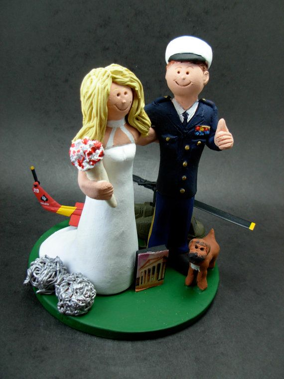 Pilot's Wedding Cake Topper, Air Force Pilot's Wedding Cake Topper, Old Glory Wedding Cake Topper,Blackhawk Helicopter Wedding Cake Topper     This photographed listing is but an example of what we will create for you....simply email or call toll free with your own info and pictures of yourselves, and we will sculpt for you a treasured memory from your wedding!    $235 #magicmud 1 800 231 9814 www.magicmud.com
