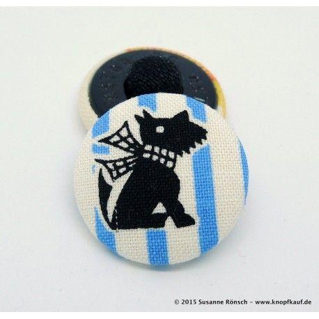 Knopf Schnauzer Hundemotiv, schwarz auf Streifen, 23mm