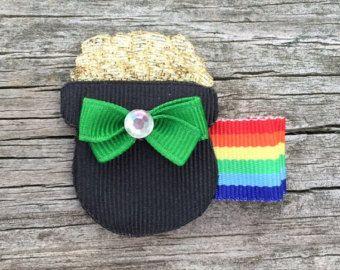 St. Patrick's Day Hair Bows, Pot of Gold Hair Clip, St. Patty's Day Hair Clip, St. Patrick's Day Hair Clip, Toddler Hair Bows