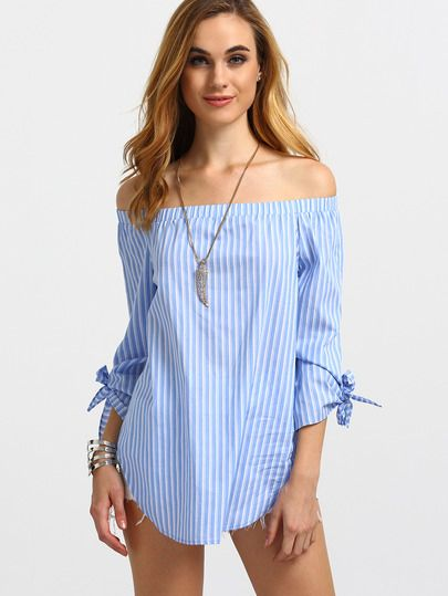 Blue Striped Off The Shoulder Tie Cuff Blouse -SheIn(Sheinside) Mobile Site