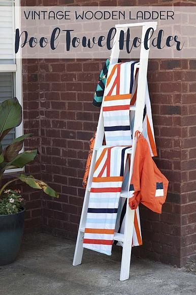Vintage Wooden Ladder Pool Towel Holder using Americana Decor Outdoor Living paints. @peachstreet #decoartprojects