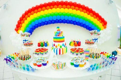 rainbow party table settings