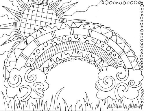sunshine rainbow coloring page - Sunshine Coloring Pages Printable