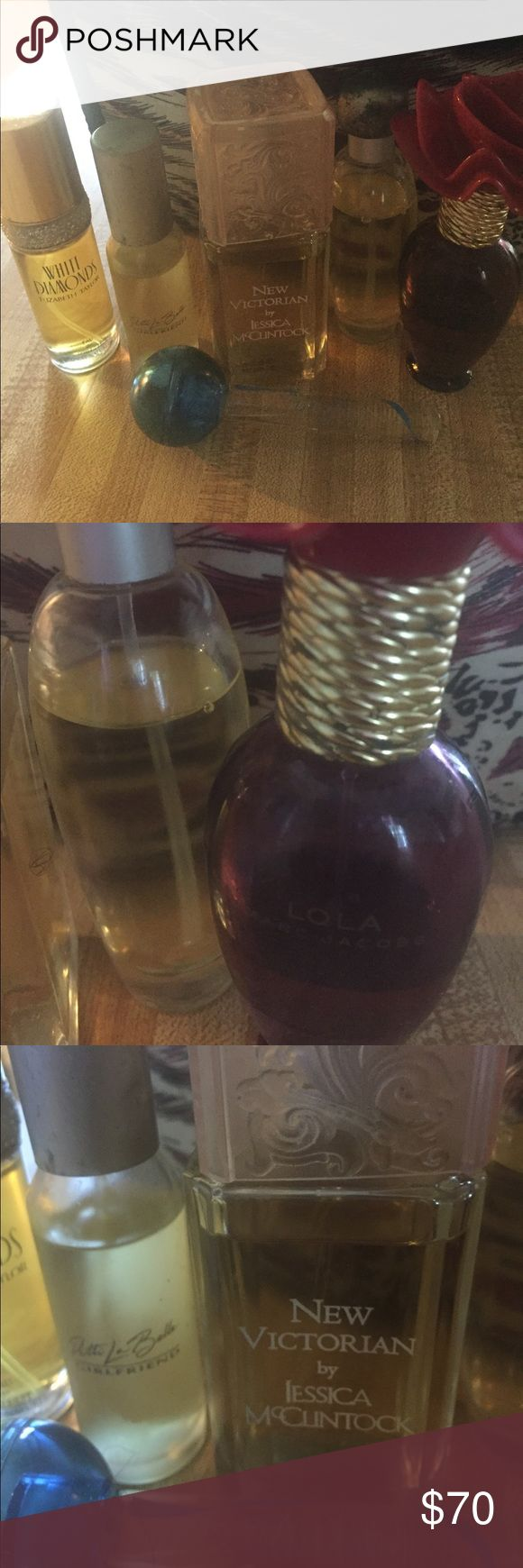Perfume all included in price Marc jacobs Lola, Jessica McClintock New Victorian, Elizabeth Taylor white diamonds,este lauded pleasure,patti labels Girl friend, Mariah Carey lollipop bling ribbon Other