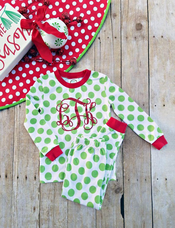 Monogrammed Christmas Pajamas ~ Youth Christmas pjs ~ Kids Pajamas ~ Christmas Pajamas for Children by EverlyGrayce on Etsy
