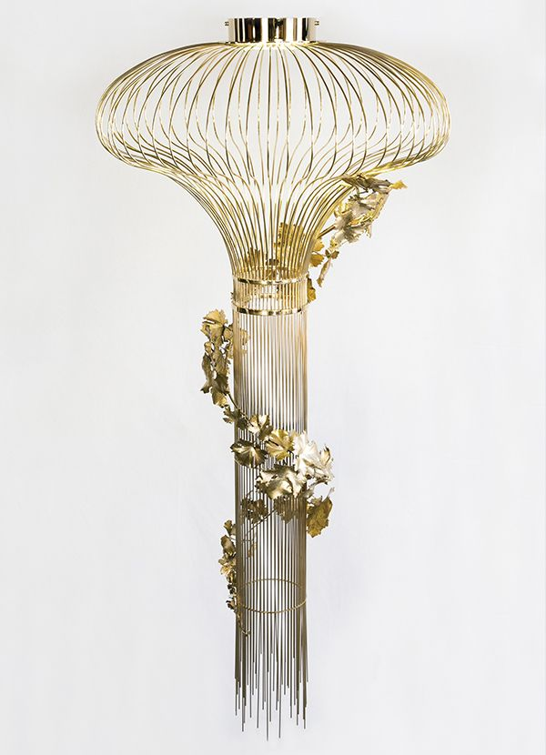 """ONION LEAVES. Ceiling Lamp (also available as Wall Lamp and Floor Lamp) created from the reproduction of organic matter, branches and vine leaves, smelted by the technique of """"lost wax"""". Exclusive artwork to illuminate every space."""