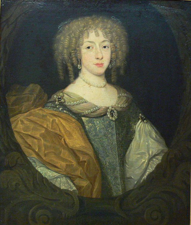 """Princesse Elisabeth-Charlotte de Bavière, Princesse du Palatinat-Rhin, Duchesse d'Orléans (1652 - 1722), aka """"La Princesse Palatine"""" et """"Madame"""", deuxième épouse de Philippe, duc d'Orléans. / Portrait de 1670, année de son mariage."""