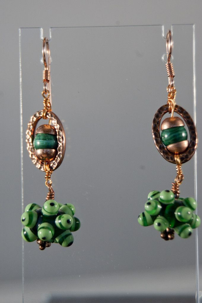 Vintage Green Czech Porcupine Beads on Copper Dangle Earrings - Simply Unique Jewelry