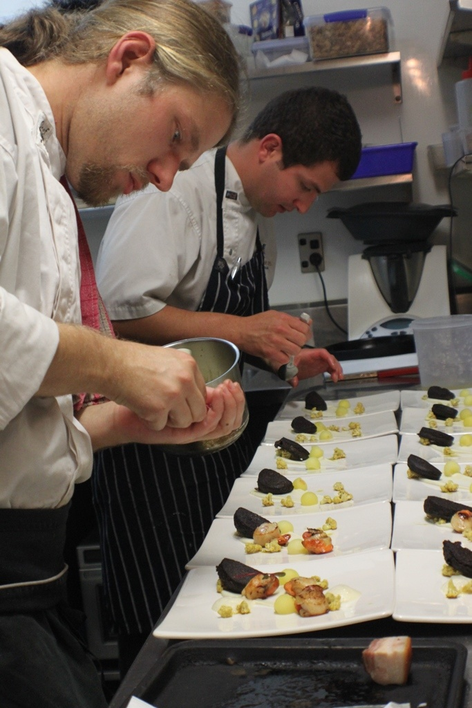 Chefs at work during the Giesen & King Salmon Seafood Celebration Degustation Dinner April 2013