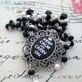 Musta Keep Calm rukousnauha 40€ rukousnauha #rukousnauha #rosario #usko #rakkaus #risti #kristinusko #helmipaikka