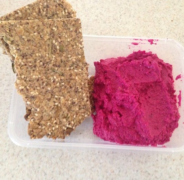 """""""Life changing crackers"""" & beetroot dip. The crackers are amazing. I always go with the rosemary & garlic flavouring. The blogger also has a bread version, haven't tried it but it is on my list to make. The beetroot dip is great too. I love the colour.   http://www.mynewroots.org/site/2014/07/the-life-changing-crackers/  http://www.juliegoodwin.com.au/roast-beetroot-dip-recipe"""