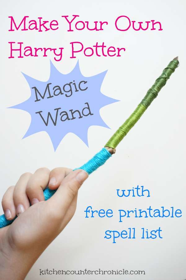 Make your own Harry Potter magic wand - bring the magic of the books to life with your own wand and free printable list of spells. Simple kid craft activity.