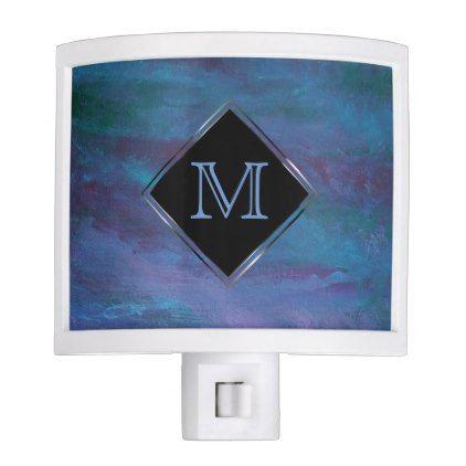#stylish - #Energetic Bath | Monogram Ombre Blue Purple Teal Night Light