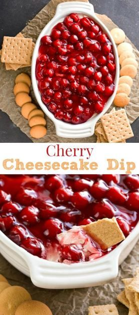 Cherry Cheesecake Dip Dessert Recipe - a lighter, healthier way to enjoy cheesecake desserts.