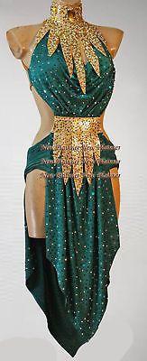 Ballroom Rhythm Salsa Latin Rumba Competition Dance Dress US 6 UK 8 Green Gold