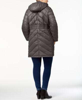 Michael Michael Kors Plus Size Chevron Packable Down Puffer Coat, Created for Macy's - Tan/Beige 0X