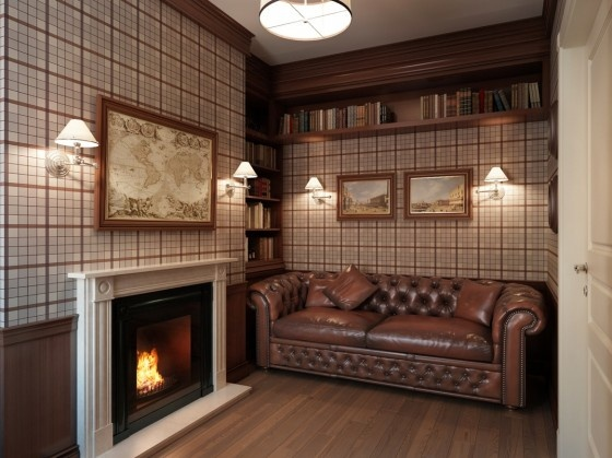 Plaid wallpaper, wainscoting, framed maps, built-in shelving, and sconces :-)