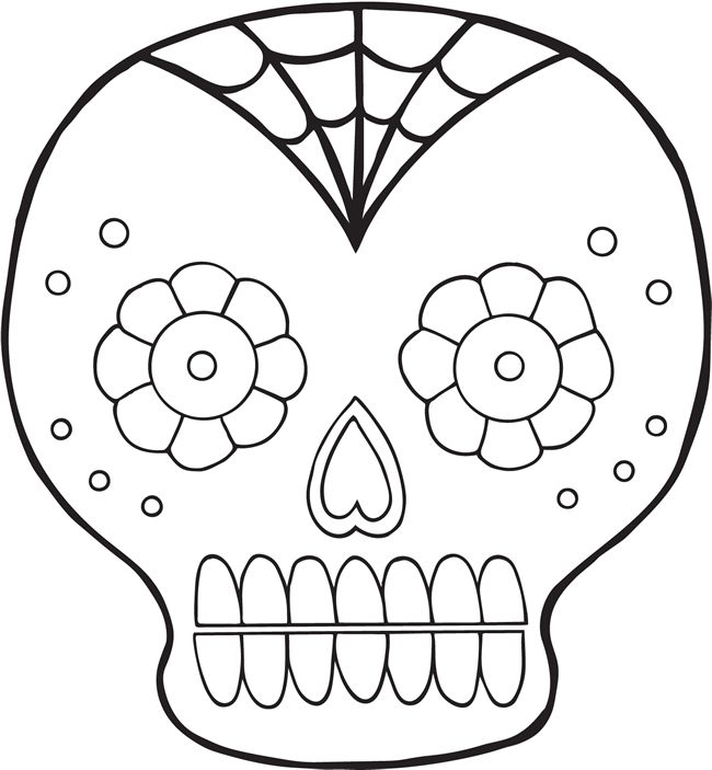 Day Of The Dead Coloring Pages Felt Skull Skull