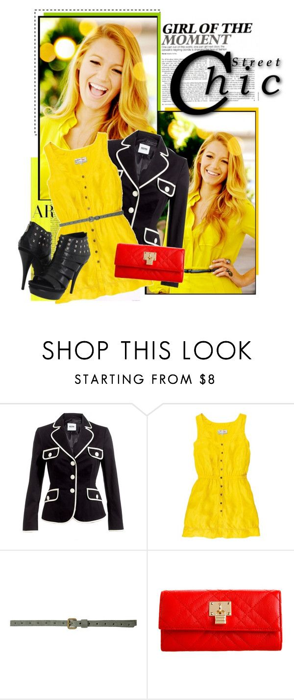 """Get The Look"" by fashionfemmefatale ❤ liked on Polyvore featuring Moschino Cheap & Chic, Zara, Armani Exchange, Two Lips, skinny belts, studded boots, blake lively and blazers"