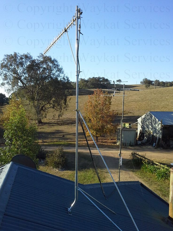 A behind view of the finished Telstra Next-G RFI 16dBi Yagi Antenna - Fully Welded Aluminium with it's 2 lots of heavy duty stays to ensure that it will stay put even against the strongest winds note also the heavy duty strut helping hold the antenna horizontal and true