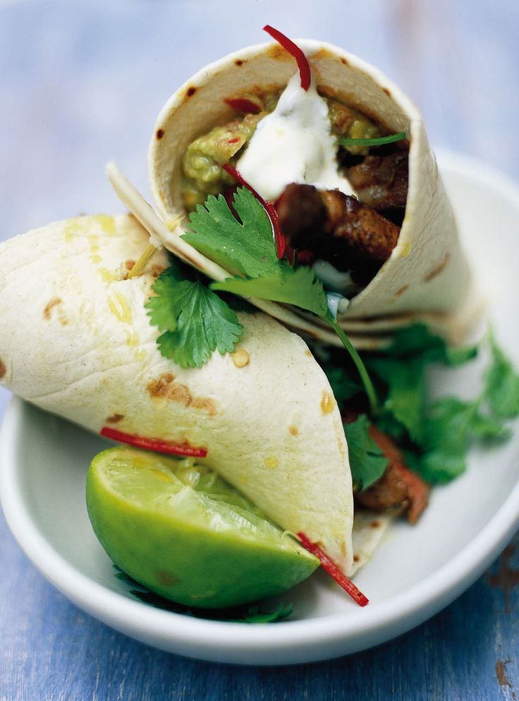 Steak & guacamole wrap | Jamie Oliver - So scrumptious, switched the shiitakes for plum toms. #gotstohavethetoms