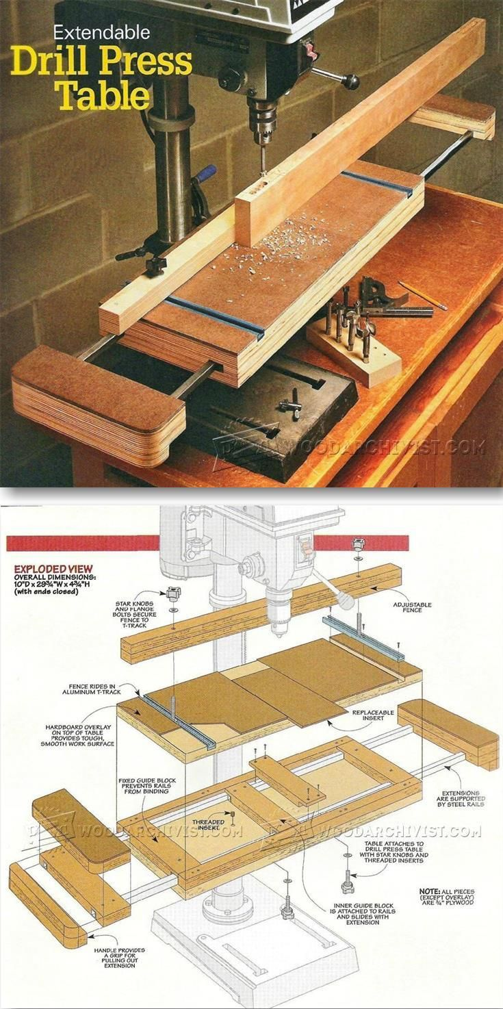 Extendable Drill Press Table Plan - Drill Press Tips, Jigs and Fixtures - Woodwork, Woodworking, Woodworking Plans, Woodworking Projects